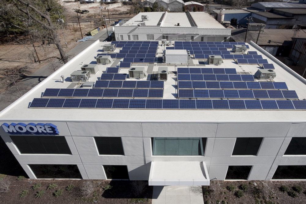 solar panels at wb moore headquarters